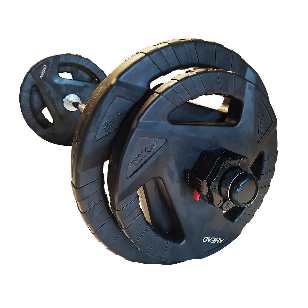 Kit Barra Olímpica W + Anilhas Premium + Presilhas Lock Jaw Ahead Sports