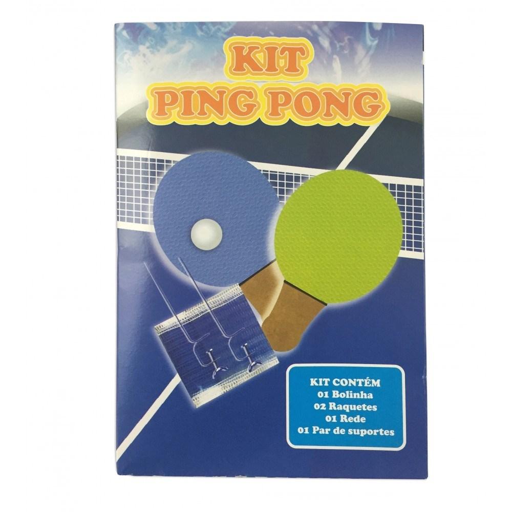 Kit Completo Ping Pong 2 Raquetes 1 Bolinha e Rede azul ASP815